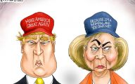 Clinton Trump Election Political Cartoon 34 Widescreen Wallpaper